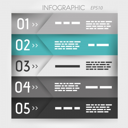 grey and turquoise infographic five oblique options. infographic concept. Stock Vector - 22289452