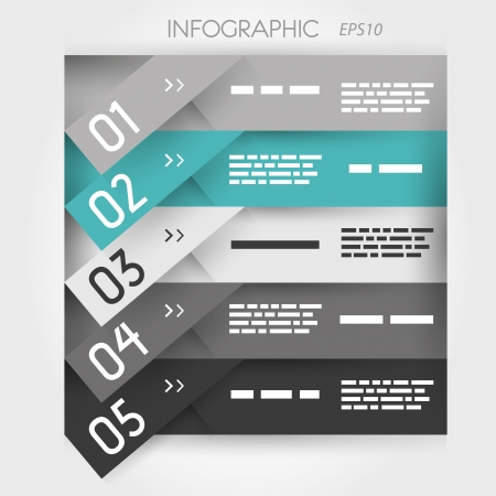 grey and turquoise oblique  infographic five oblique sticker options. infographic concept. Stock Vector - 22289453