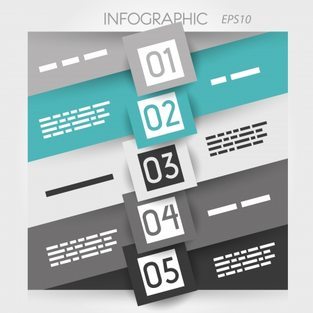 big five: grey and turquoise oblique line infographic five options in big squares in middle. infographic concept.