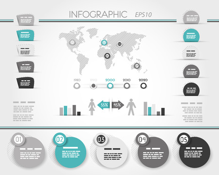 grey and turquoise world round infographic, infographic concept