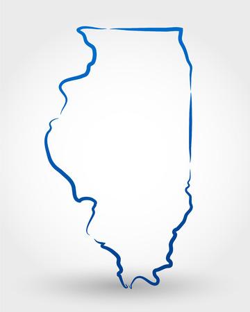 イリノイ州の地図。マップの概念  イラスト・ベクター素材