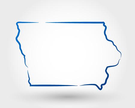 kaart van Iowa. kaart-concept