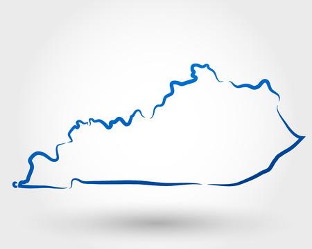 kaart van Kentucky. kaart-concept Stock Illustratie