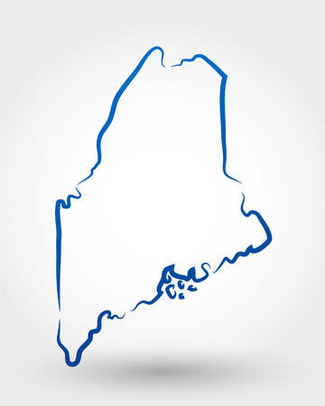 delineation: map of maine. map concept Illustration