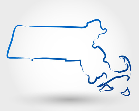 kaart van Massachusetts. kaart-concept Stock Illustratie
