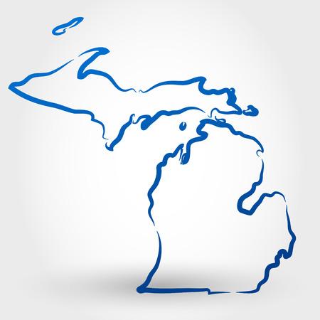 미시간의지도. 지도의 개념 일러스트