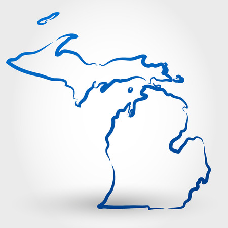 map of the united states: map of michigan. map concept Illustration