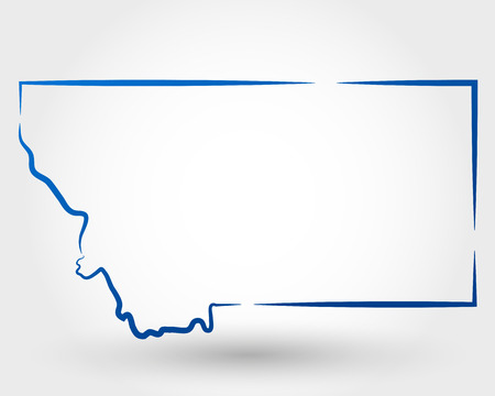 몬타나의지도. 지도의 개념 일러스트