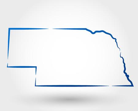 kaart van Nebraska. kaartconcept