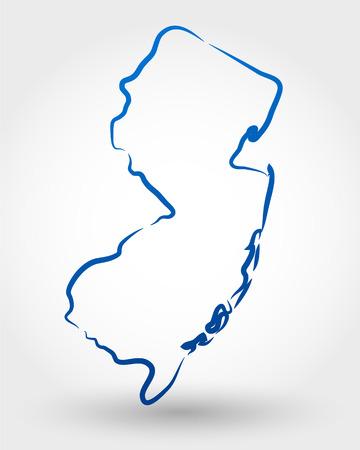 mapa de new jersey. mapa conceitual Ilustra��o