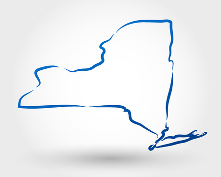 state boundary: map of new york. map concept Illustration