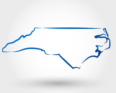 sur: mapa de carolina del norte. mapa conceptual Vectores