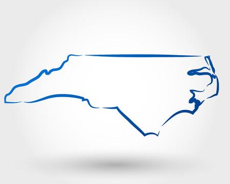 outline drawing: Mappa di North Carolina. mappa concettuale Vettoriali