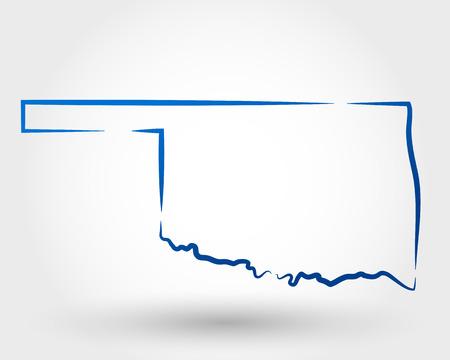 kaart van Oklahoma. kaartconcept