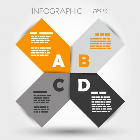 orange and grey infographic rounded squares ABCD. infographic concept. Stock Vector - 22289849