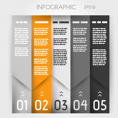 orenge: orenge and grey column ingographic five oblique options. infographic concept.
