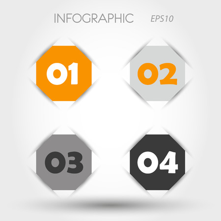 orange and gray infographic heaxagon with numbers. infographic concept. Vector