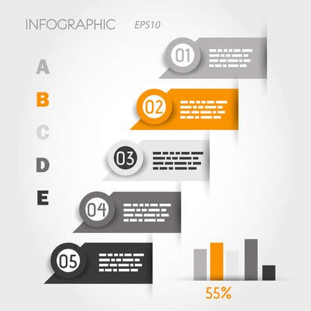 orange and grey infographic labels with graph. infographic concept. Stock Vector - 22289924