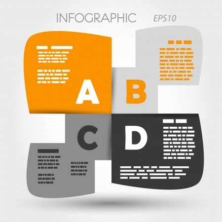 orange and grey infographic rounded squares ABCD. infographic concept. Vector