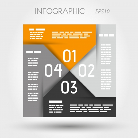 orange and grey infographic square propeller. infographic concept. Vector