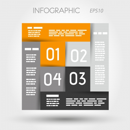 orange and grey infographic square  infographic concept  Stock Vector - 22289921