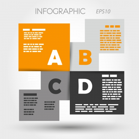 orange and grey infographic squares ABCD  infographic concept  Vector