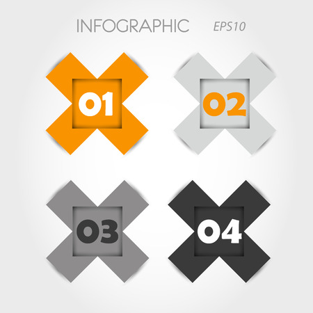 orange and grey infographic x with numbers  infographic concept  Vector
