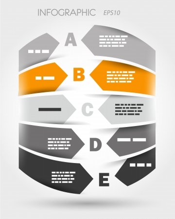 orange and grey infographic cylinder from arrows  infographic concept  Vector