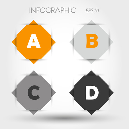 orange and grey rhombus infographic ABCD  infographic concept