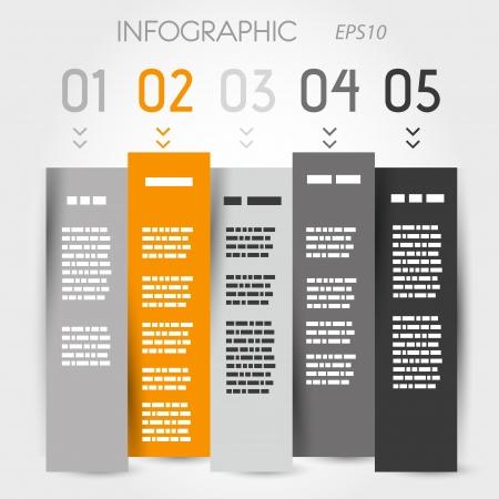 orange and grey zig zag column options  infographic concept  向量圖像