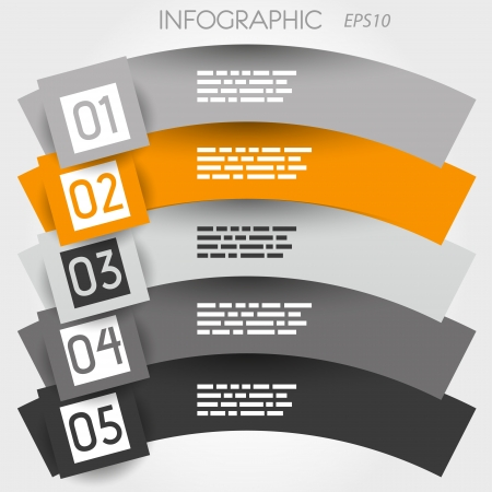 orange arc infographic five options in big squares  infographic concept  Vector