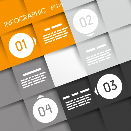 orange big square infographic four options with rings  infographic concept  Vector