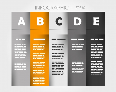 orange column infographic with letters  infographic concept  Vector