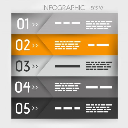 orange infographic five oblique options  infographic concept  Vector