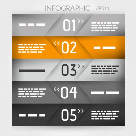 orange infographic five oblique options in middle  infographic concept