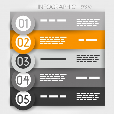 big five: orange infographic five options in big rings  infographic concept  Illustration