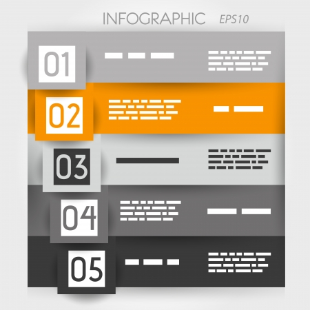 orange infographic five options in big squares  infographic concept  Vector