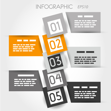 orange square bubble infographic. infographic concept. Vector