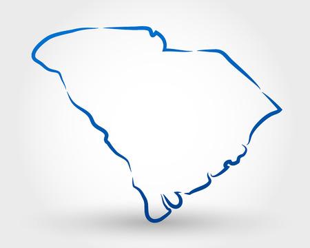 サウスカロライナ州の地図。マップの概念  イラスト・ベクター素材