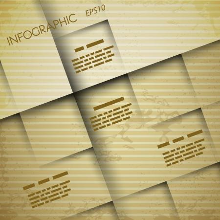 papel quadrado vindima conceito infogr Ilustração