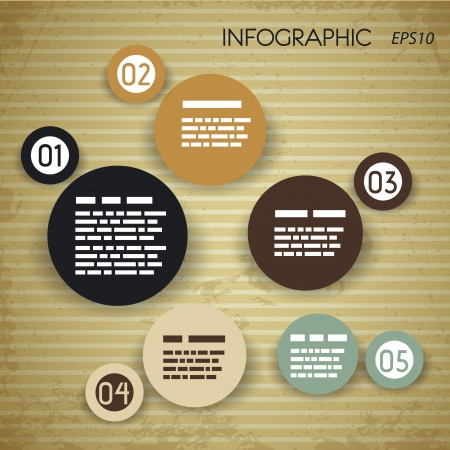 peper: square paper vintage infographic with bibbles  infographic concept  Illustration