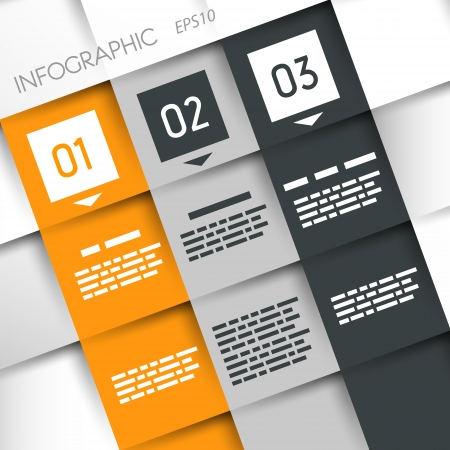 square three options grey and orange infographic with squares  infographic concept Stock Vector - 22290690