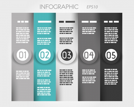 turquoise column infographic with big rings in middle  infographic concept Stock Vector - 22292066