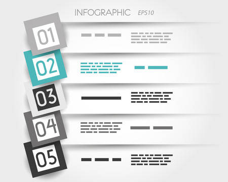 five objects: turquoise transparent infographic 5 options with big squares  infographic concept