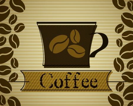 vintage coffee cup  coffee concept Vector