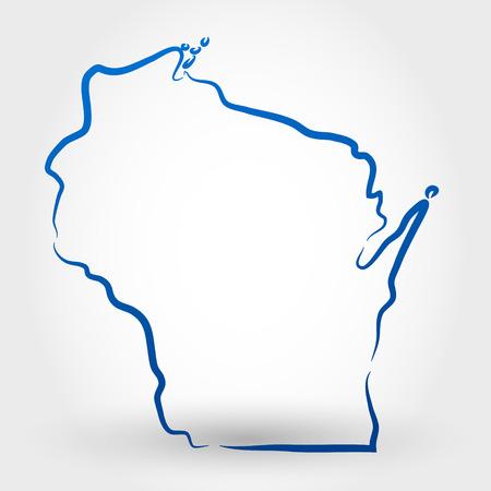 ウィスコンシン州マップの概念の地図