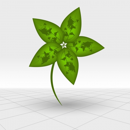 world clower leaf, eco concept,  Vector