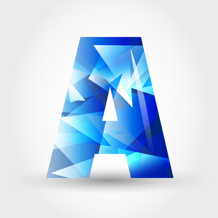 ice alphabet: concept of blue crystalline alphabet, number and symbol Illustration