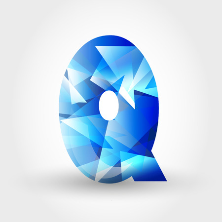 icy: concept of blue crystalline alphabet, number and symbol Illustration