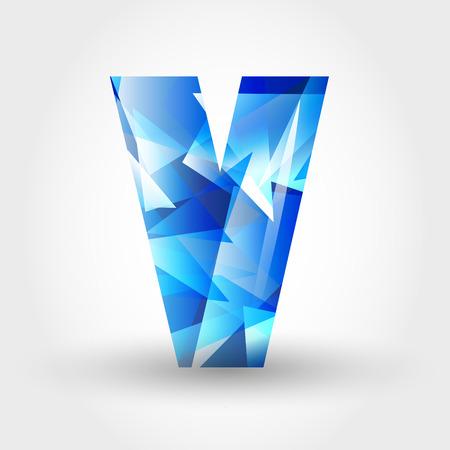 v shape: concept of blue crystalline alphabet, number and symbol Illustration